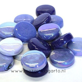 Glastegel Rond 20 mm per 100 gram Blauwe Mix 001