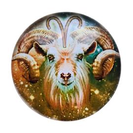 Cabochon/Plaksteen Glas 25 mm Horoscoop Ram 1115