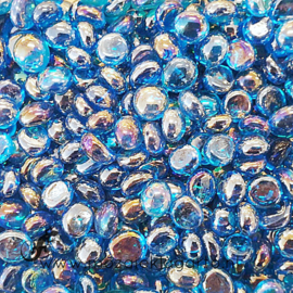 Glas Nugget Mini 9-13 mm Transparant Iriserend 50 gram Aqua 4395