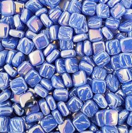Mozaiektegeltjes glas 8 x 8 mm Parelmoer per 50 gram Briljant Blauw 069P