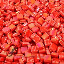 Mozaiek tegeltjes glas 8 x 8 mm Parelmoer per 50 gram Rood 107P