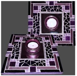 Mozaiek Spiegel/Waxinehouder Paars 021