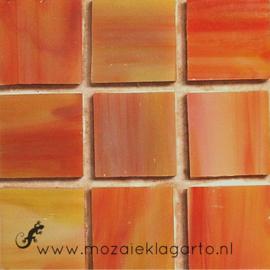 Tiffany glastegels 2x2 cm per 25 Oranje/Geel gevlamd 071