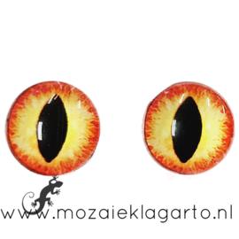 Cabochon/Plaksteen Oogjes per 2 Geel/Oranje 307-15