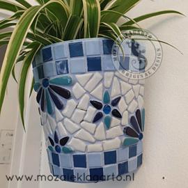 Mozaiekpakket 46 Plantenbak Muurbloempje Blauw