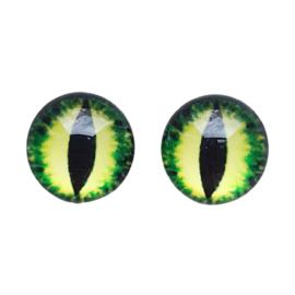 Cabochon/Plaksteen Oogjes 12 mm per 2 Groen/Geel 323-12