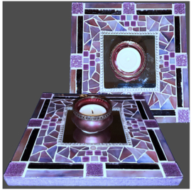 Mozaiek Spiegel/Waxinehouder Paars 002