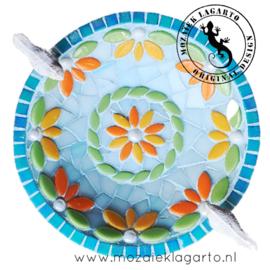 Mozaiekpakket 37 Vogelbadje Flora Aqua/Geel/Oranje