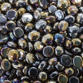 Glas Nugget Mini 9-13 mm Opaal Iriserend 50 gram Zwart 4377