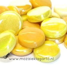 Glastegel Rond 20 mm per 100 gram Gele Mix 004