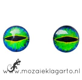 Cabochon/Plaksteen Oogjes per 2 Groen/Blauw/Geel 304-15
