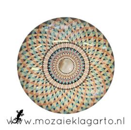 Cabochon/Plaksteen Glas 30 mm Mandala Crème - Zeegroen - Oranje  5007