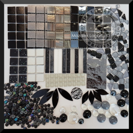 Glasmozaiek mix Zwart in cadeautasje 25-12