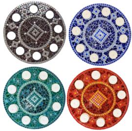 Mozaiekpakket 11 Waxinelichthouder Rondo 4 kleuren