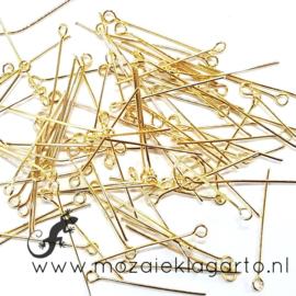 Kettelstiften metaal  Goudkleur 30 mm per 10 gram