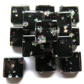Glasmozaiek glitter 1 x 1 cm per 50 gram Zwart/Zilver 96-10