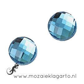 Glas facet geslepen rond 20 mm per 2  Aqua 702