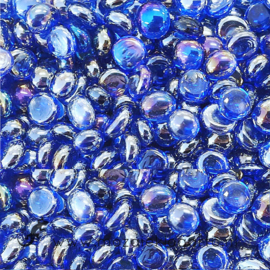 Glas Nugget Mini 9-13 mm Transparant Iriserend 50 gram Blauw 4393
