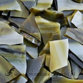 Gekleurde glasscherven Semi Translucent  Donkerbruin/Crème CAG088st