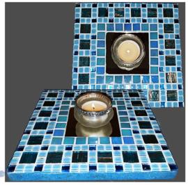 Mozaiek Spiegel/Waxinehouder Aqua 003