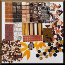 Mozaiekglas mix Bruin in cadeautasje 25-3