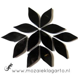 Bloemblaadjes Tiffanyglas 15x38x3 mm per 12 Zwart 026-1