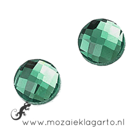 Glas facet geslepen rond 20 mm per 2  Groen 706