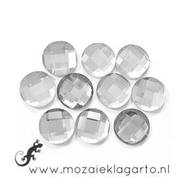 Glas facet geslepen rond 12 mm per 10  Kristal 600