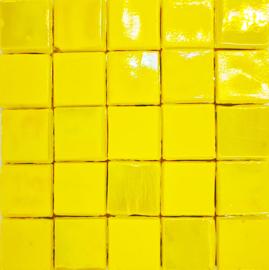 Glastegels 15 mm  Geel Opaal per 25 tegels 150-15