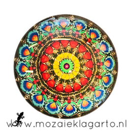 Cabochon/Plaksteen Glas 30 mm Mandala Multicolor  5002
