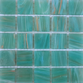 Goudader glastegels Licht Zeegroen per 25 tegels 061
