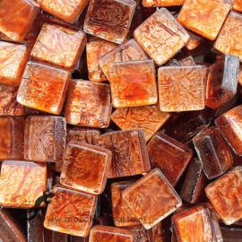 Glasmozaiek folie 1 x 1 cm per 50 gram Amber 1027