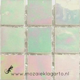 Tiffany glastegels 2x2 cm per 25 Wit Iriserend 002