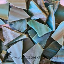 Gekleurde glasscherven Opaal Aqua - Groen - Bruin W96-37o