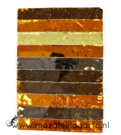 Tiffany Spiegelglas reepjes 1x6.5 cm per 10 Bruin 003
