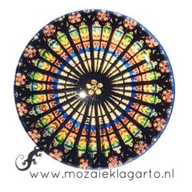 Cabochon/Plaksteen Glas 30 mm Mandala  Regenboog  23217