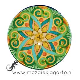 Cabochon/Plaksteen Glas 30 mm Mandala Groen - Geel - Zeegroen 70004