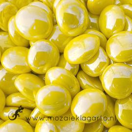 Glas Nugget 17-22 mm Opaal Iriserend 50 gram Geel  4489