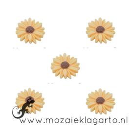 Decoratiesteen kunststof  22 mm bloem per 5 Warm Geel 20864