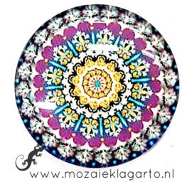 Cabochon/Plaksteen Glas 30 mm Mandala  Paars - Geel 40211