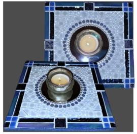 Mozaiek Spiegel/Waxinehouder Lichtblauw 006