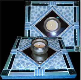 Mozaiek Spiegel/Waxinehouder Aqua 022