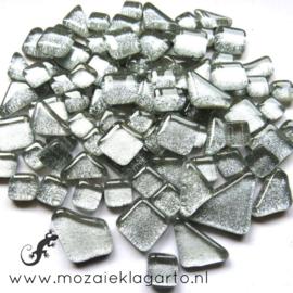 Glas Puzzelstukjes Glitter  Mix 100 gram Zilver 878