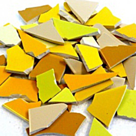 Mozaïek tegelscherven voor BINNEN per 750 gram Gele mix