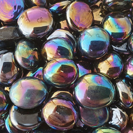 Glas Nugget 17-22 mm Opaal Iriserend 50 gram Zwart 4441