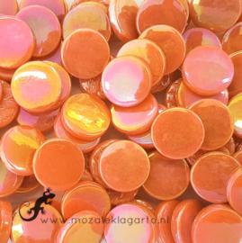Glastegel Rond 18 mm Parelmoer per 50 gram Oranje 104
