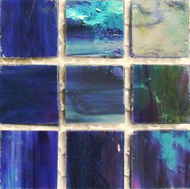 Tiffany glastegels 2x2 cm per 25 Indigo Iriserend 319
