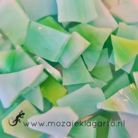 Gekleurde glasscherven voor 10 x 20 cm  Yang Structuur Wit/Aqua/Limoen 035V
