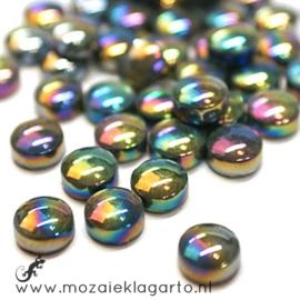 Glasdruppel Rond 12 mm per 50 gram Parelmoer Zwart 049P