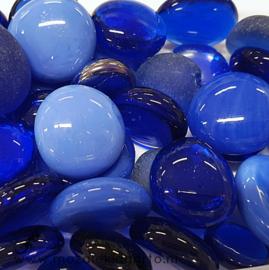 Glas Nugget 9-22 mm Mix 150 gram Blauw 602